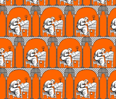 Scriptorium Orange Pomander fabric by glimmericks on Spoonflower - custom fabric