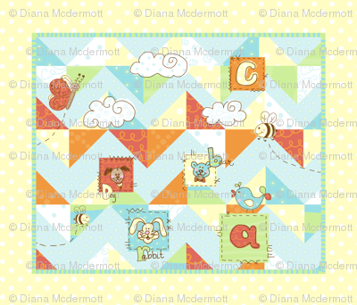 children's animal ABC quilt