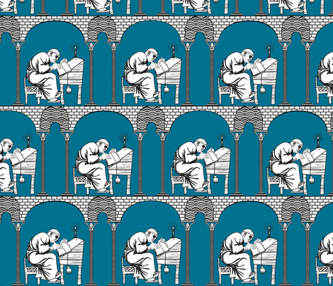 Scriptorium blue ink fabric by glimmericks on Spoonflower - custom fabric