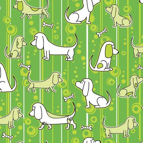 Modern Bassets (Green) fabric by robyriker on Spoonflower - custom fabric