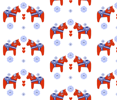 Dala Horse fabric by delsie on Spoonflower - custom fabric