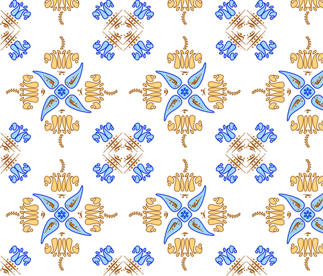 Multani Floral 1 gold blue large fabric by mojiarts on Spoonflower - custom fabric