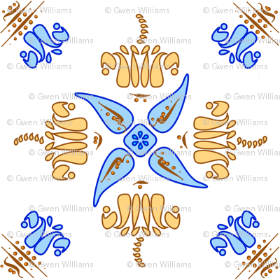 Multani Floral 1 gold blue centered