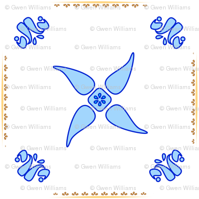 Multani Floral 1 blue squares