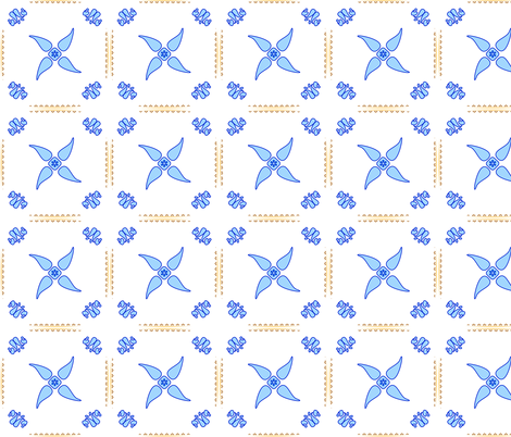 Multani Floral 1 blue squares fabric by mojiarts on Spoonflower - custom fabric