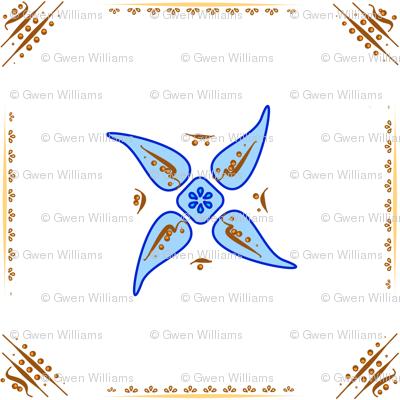 Multani Floral 1 blue squares 2