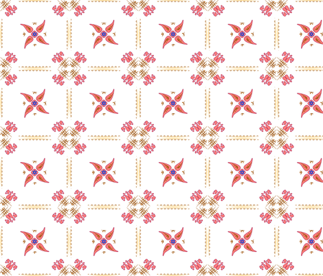 Multani Floral 1 red squares 2 fabric by mojiarts on Spoonflower - custom fabric