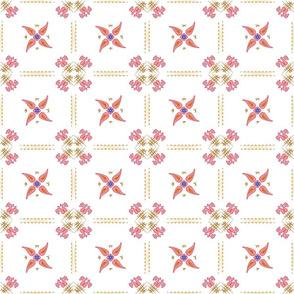 Multani Floral 1 red squares 2