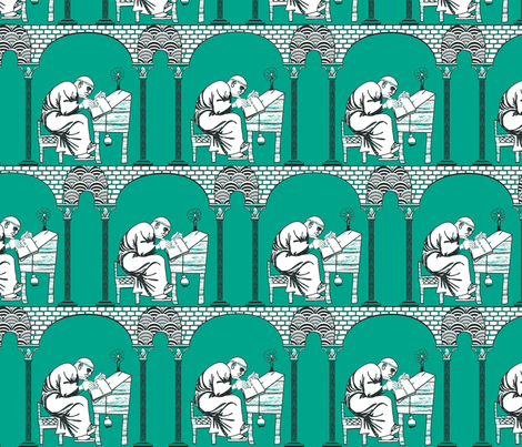 Scriptorium emerald city fabric by glimmericks on Spoonflower - custom fabric