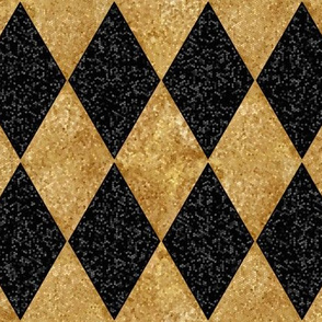 Harlequin Diamonds ~ Black and Antique  Gold ~ Sequins