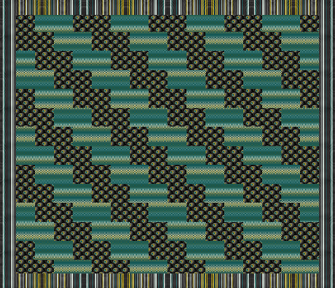 Peacock Cheater Quilt (please zoom for to swatch for more chevron details) fabric by peacoquettedesigns on Spoonflower - custom fabric