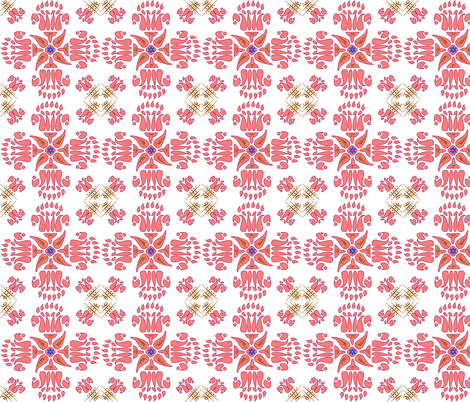 Multani Floral 1 red bloom fabric by mojiarts on Spoonflower - custom fabric