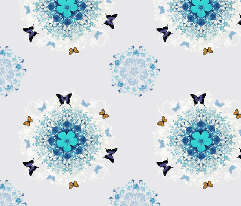 Blue Butterfly Woods fabric by milliondollardesign on Spoonflower - custom fabric