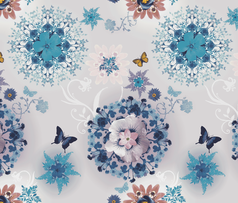 Blue Butterfly Bloom Woods fabric by milliondollardesign on Spoonflower - custom fabric