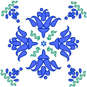 Multani Floral 1 blue green centered