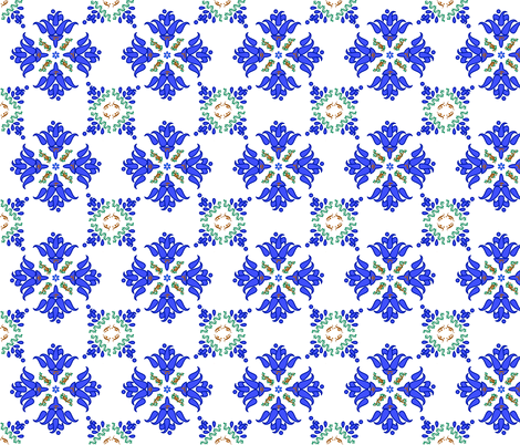 Multani Floral 1 blue green 2 fabric by mojiarts on Spoonflower - custom fabric