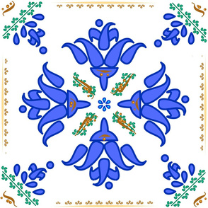Multani Floral 1 blue green square centered