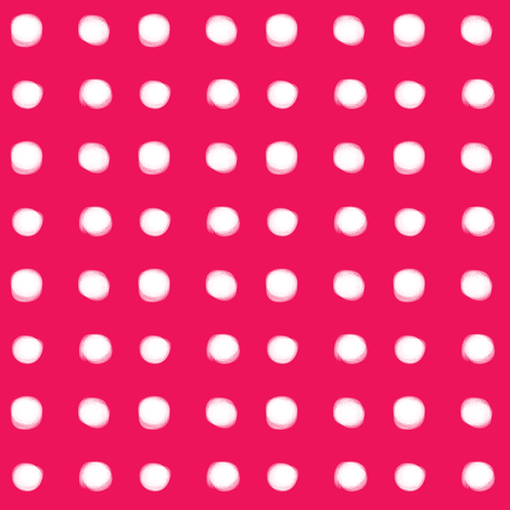 white polka dots on pink fabric by pencilmein on Spoonflower - custom fabric