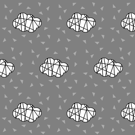 white clouds on grey with lines fabric by pencilmein on Spoonflower - custom fabric