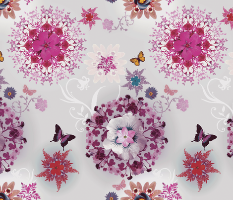 Pink Butterfly Bloom Woods fabric by milliondollardesign on Spoonflower - custom fabric