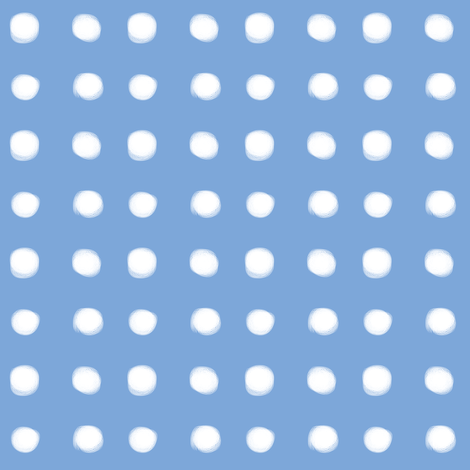 white polka dots on blue fabric by pencilmein on Spoonflower - custom fabric