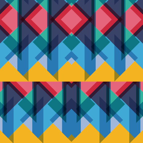Blue based triangles fabric by pencilmein on Spoonflower - custom fabric