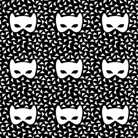 Black and white mask reverse fabric by pencilmein on Spoonflower - custom fabric