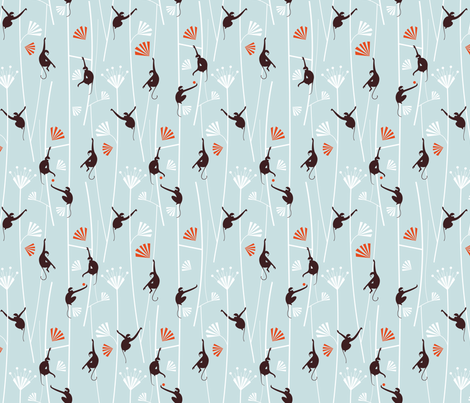 Monkey Art Deco_light_blue fabric by happy_to_see on Spoonflower - custom fabric
