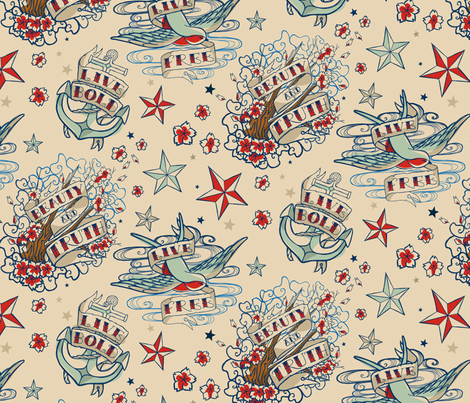 Seven SeasTattoo fabric by urban_threads on Spoonflower - custom fabric