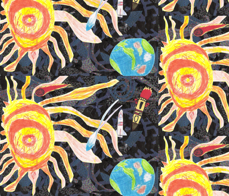 The Earth Loves the Sun fabric by walkwithmagistudio on Spoonflower - custom fabric