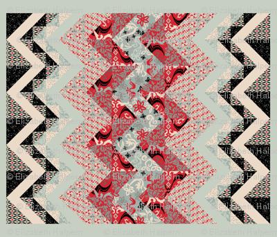 Folk Fusion Zig Zag Cheater Quilt