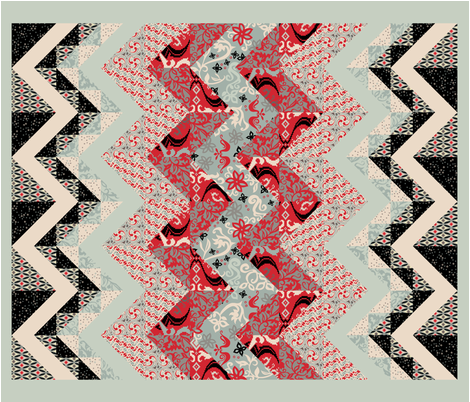 Folk Fusion Zig Zag Cheater Quilt fabric by modernprintcraft on Spoonflower - custom fabric