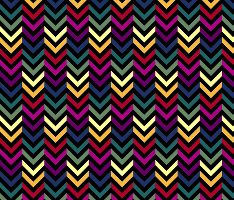 Black & Rainbow Chevrons Half-Drop fabric by pond_ripple on Spoonflower - custom fabric