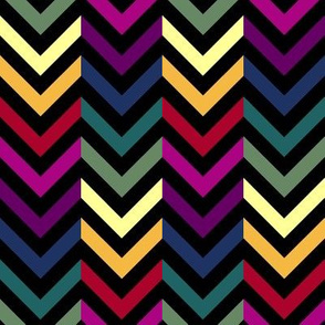 Black & Rainbow Chevrons Half-Drop