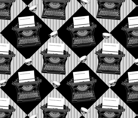 Typewriters and teacups fabric by dzynchik on Spoonflower - custom fabric