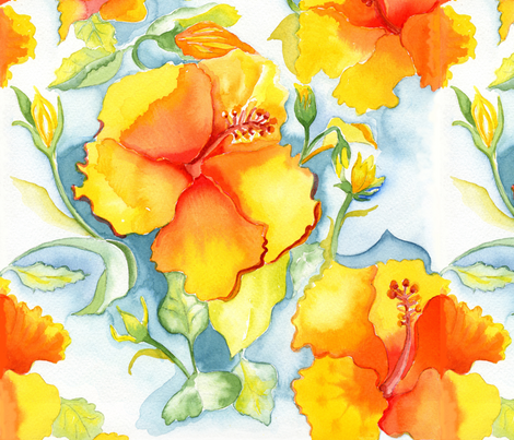 Yellow-orange watercolor hibiscus fabric by mlanodesign on Spoonflower - custom fabric