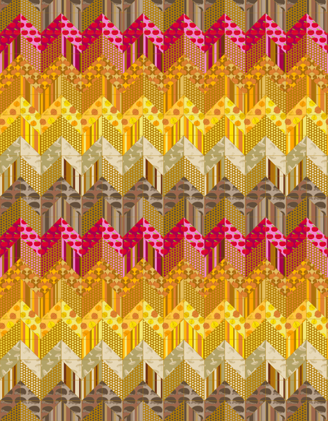 Autumn Delights - Zig Zag Cheater Double Quilt fabric by uzumakijo on Spoonflower - custom fabric