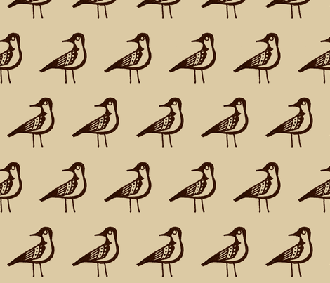 Doodle Bird (Large and Brown) fabric by siya on Spoonflower - custom fabric