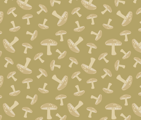 Autumn Delights - Mushrooms - Olive fabric by uzumakijo on Spoonflower - custom fabric