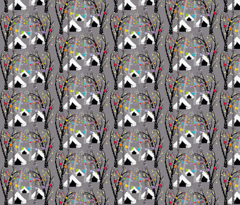 Camping in the woods - night (smaller) fabric by uzumakijo on Spoonflower - custom fabric