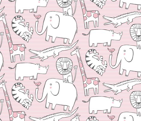 Lullaby Jungle (pink) fabric by leanne on Spoonflower - custom fabric