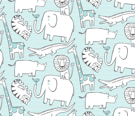 Lullaby Jungle (blue) fabric by leanne on Spoonflower - custom fabric