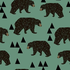 Geometric Bear - Viridian - by Andrea Lauren