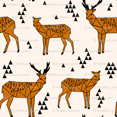 Geometric Deer // rust orange and cream