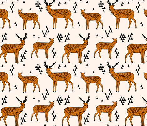 Geometric Deer - Champagne / Rust fabric by andrea_lauren on Spoonflower - custom fabric