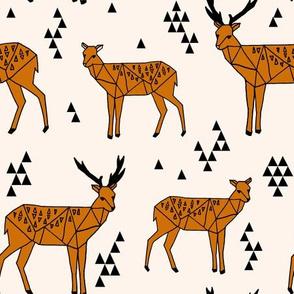Geometric Deer - Champagne / Rust