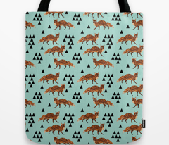 Geometric Fox - Pale Turquoise/Rust/Black