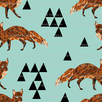 Geometric Fox - Pale Turquoise/Rust/Black
