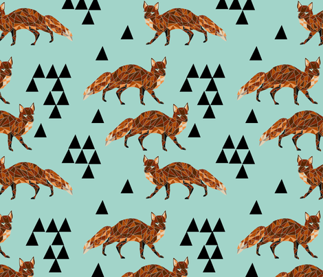 Geometric Fox - Pale Turquoise/Rust/Black fabric by andrea_lauren on Spoonflower - custom fabric