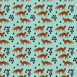 fox // triangles aqua geometric blue triangles